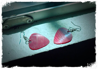 Guitar pick earrings made from 45s