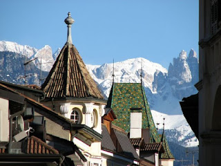 The city of Bolzano is set against a backdrop of  stunning Alpine views