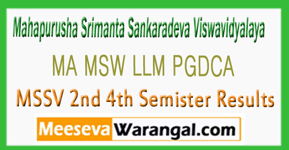 MSSV MA MSW LLM PGDCA 2nd 4th Semister Results 2017