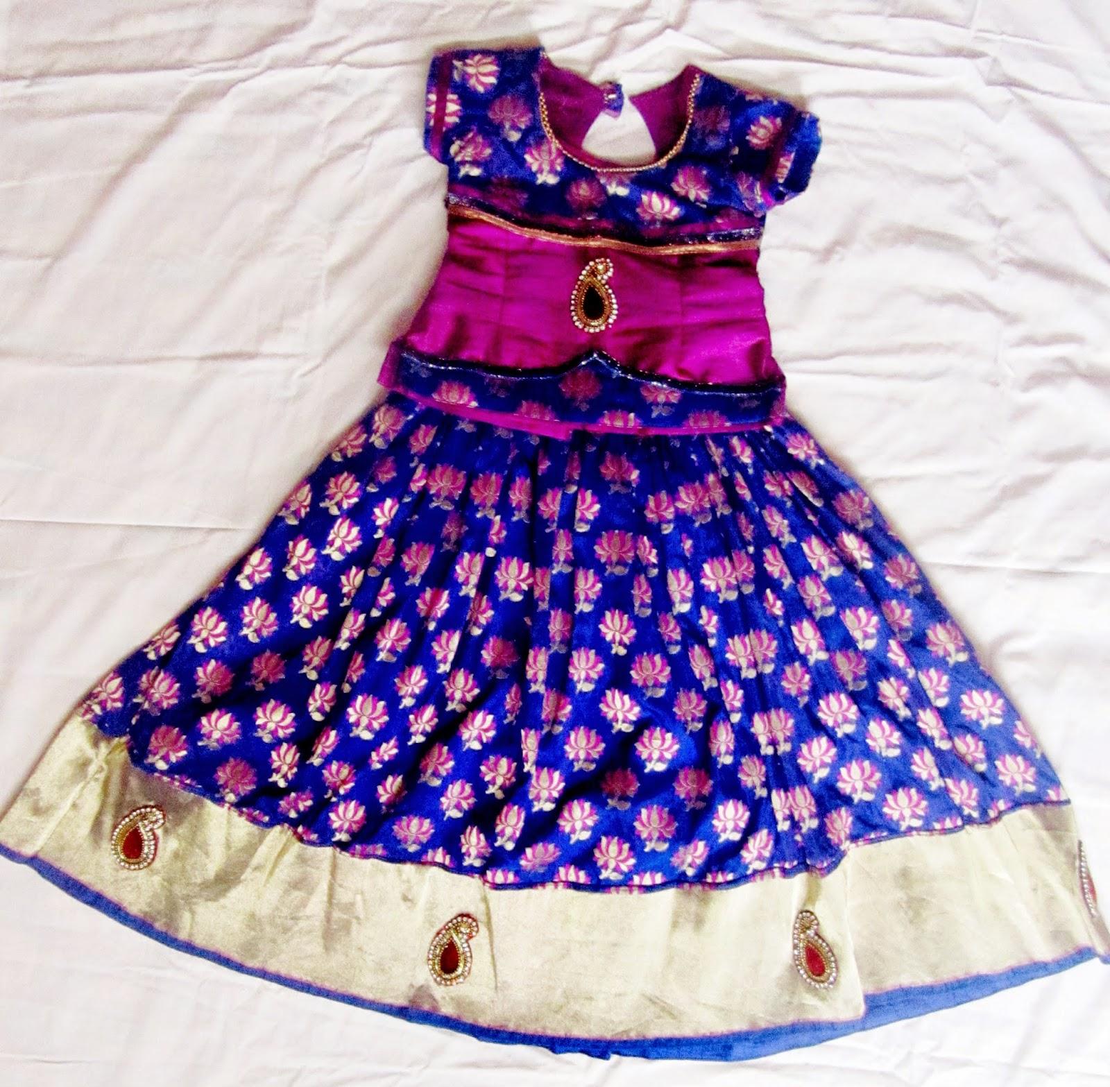 9850e197d0baa Kids traditions blue banaras pattu langa jpg 1600x1567 Latest pattu langa  designs