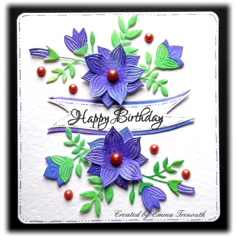 Trenouths crafty creations floral birthday cards i die cut the floral spray from green and bluepurple brusho paper and snipped and layered it together stamped greeting die cut into a banner bookmarktalkfo Image collections