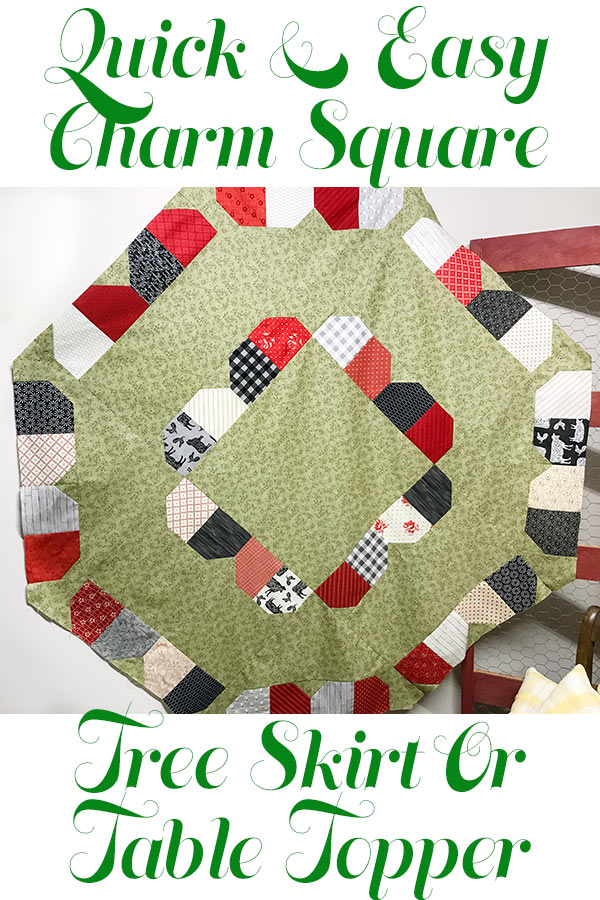 A quick and easy Christmas tree skirt or table topper from charm squares