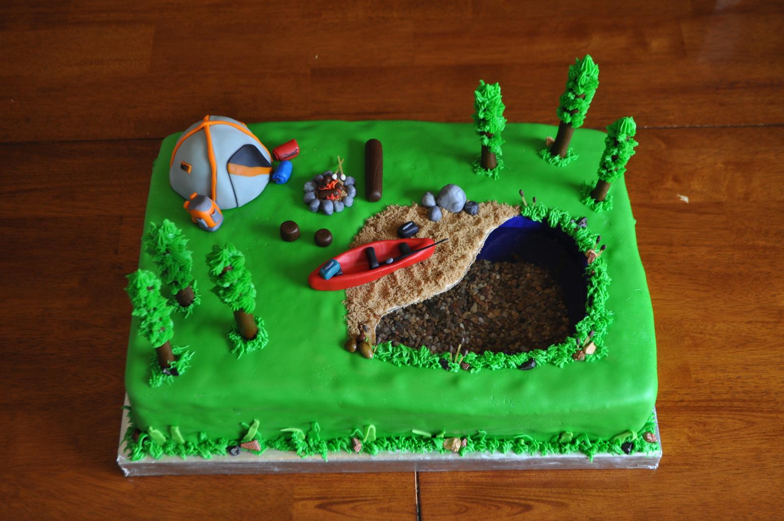 Peach Of Cake Camping Birthday Cake
