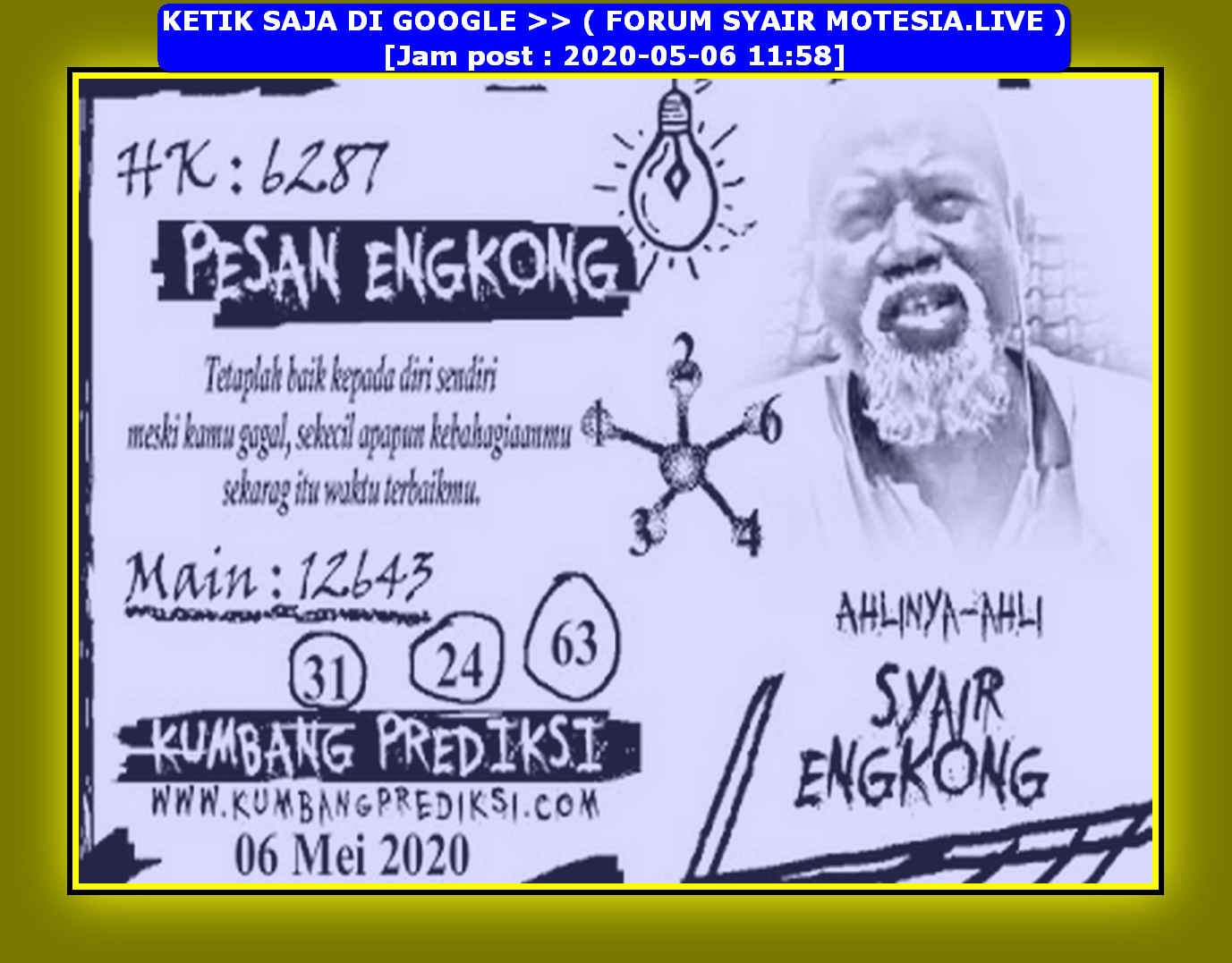 Kode syair Hongkong Rabu 6 Mei 2020 106