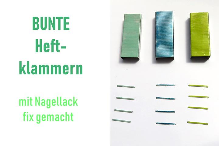Titelbild - Heftklammern mit Nagellack bemalt
