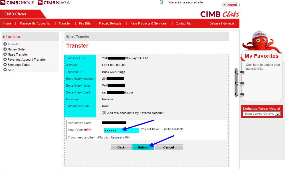 Cara transfer uang lewat internet banking