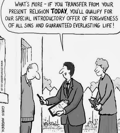 Funny Religion Special Offer Salesman Joke Cartoon Picture