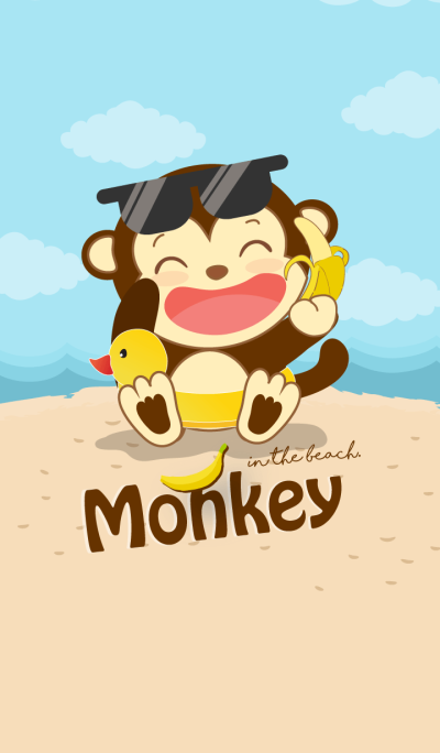 Monkey in the beach. (Blue ver.)