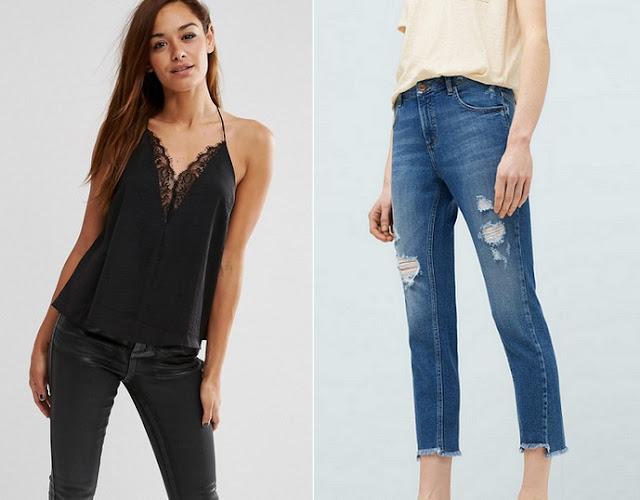 top-dentelle-asos-jeans-dechiré-mango-zara