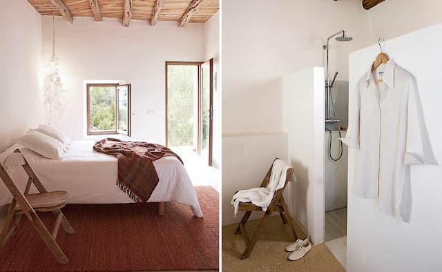 cama con sabanas blancas y baño abierto al dormitorio chicanddeco