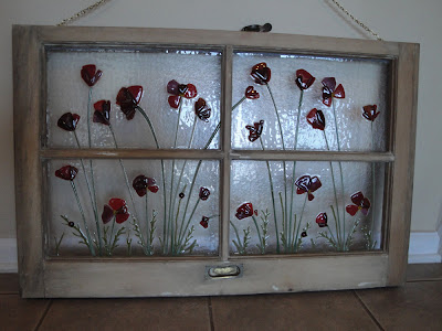 Red Poppies Fused Glass Upcycled Recycled Antique Window Frame