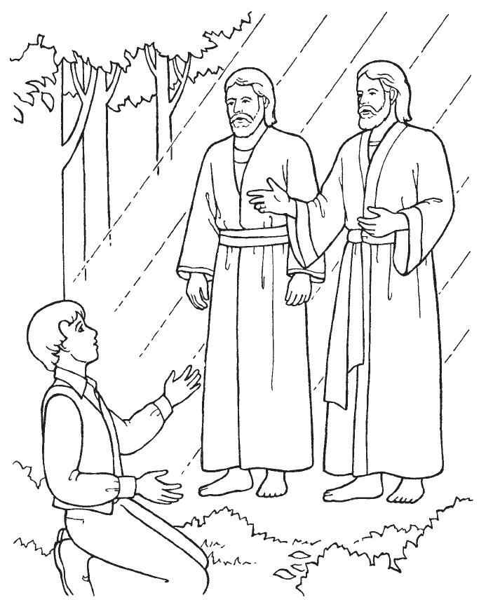 coloring page of the first vision arizona forever teaching praise to the man hymn 27