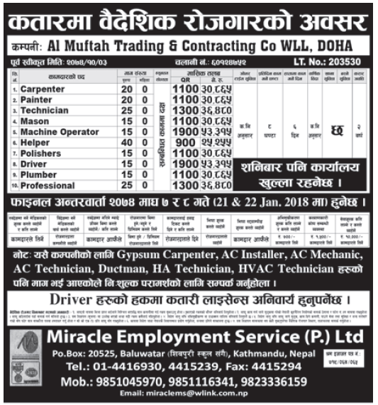 Jobs in Qatar for Nepali, Salary Rs 53,315