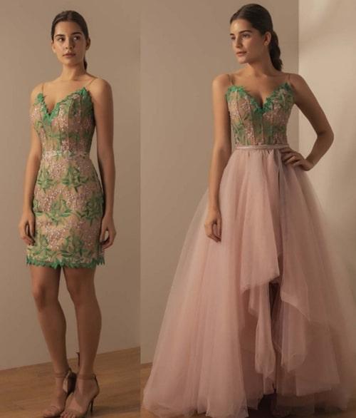 vestido de festa 2 em 1 rosa