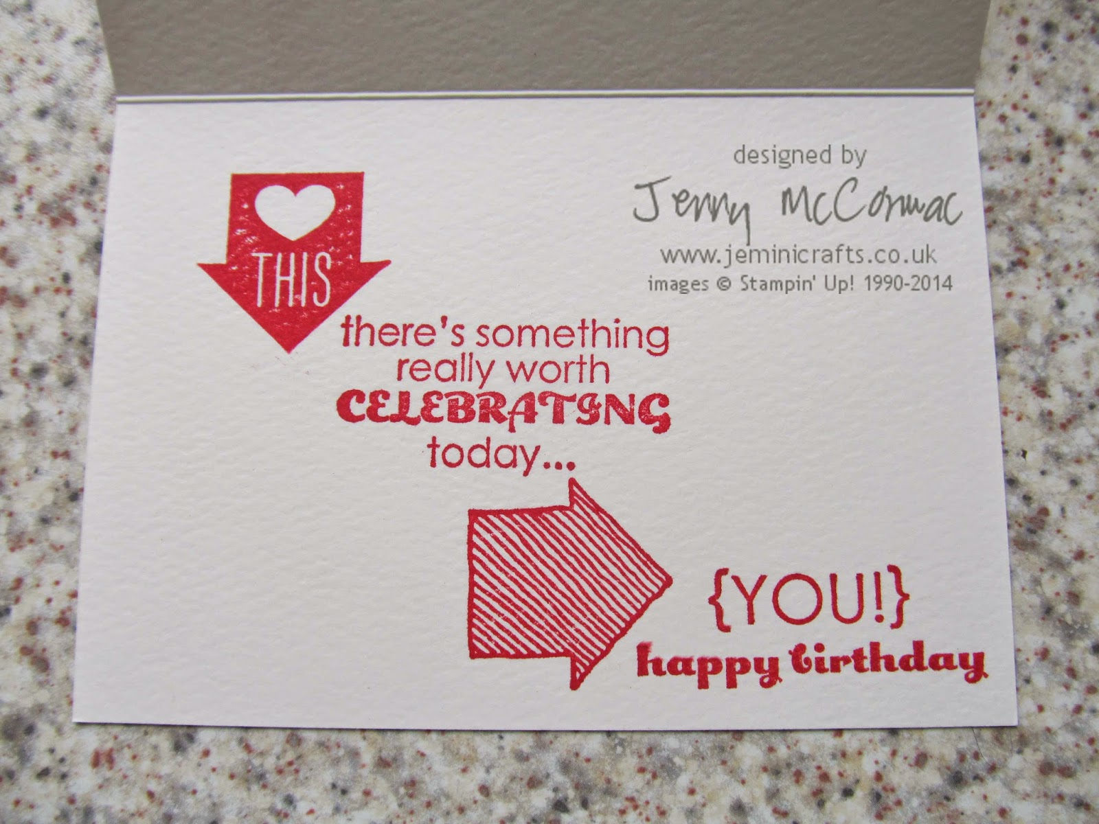 What's Up Birthday card using Stampin' Up! products Jemini Crafts