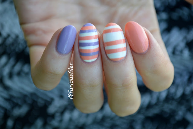 stripes nails colour block peachella purple