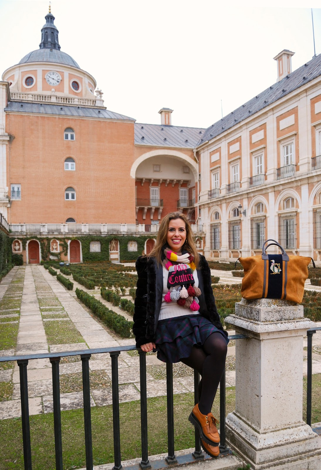 aranjuez madrid winter travel outfit royal palace gardens