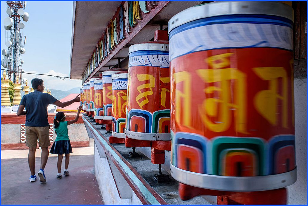 Prayer wheels at Zang Dhok Palri Phodang, a Buddhist monastery in Kalimpong