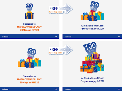 Malaysia Fiber TM UniFi Advance Plan Free Speed Upgrade 2017