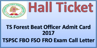 TSPSC FBO FSO FRO Admit Card or Hall Ticket