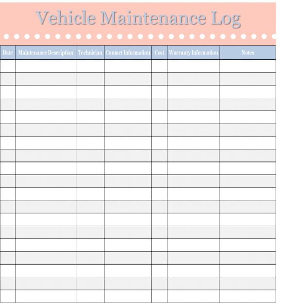 Printable Vehicle Maintenance Log template - Excel Template