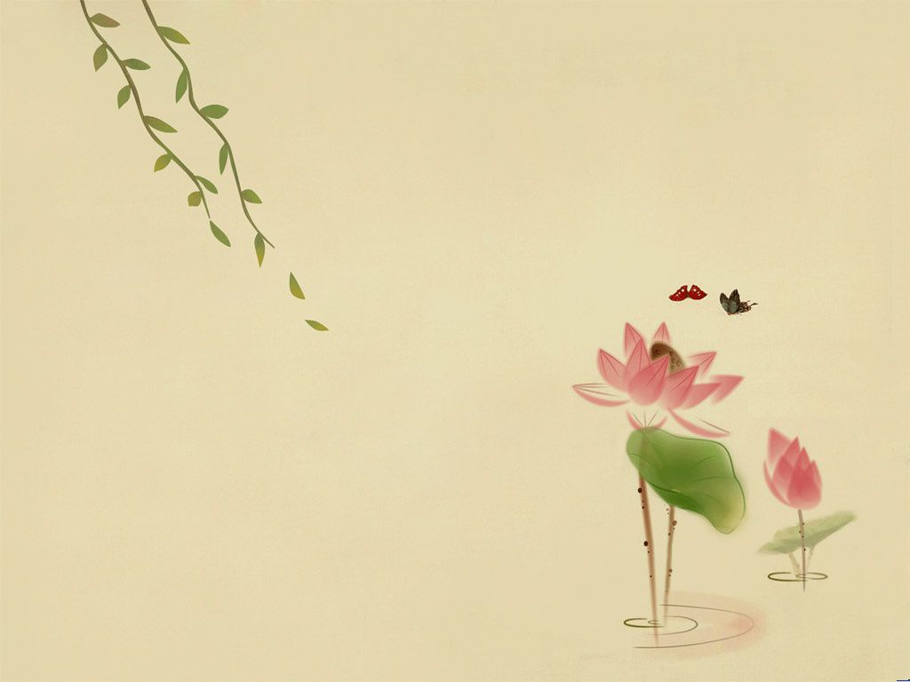 Butterflies and lotus PPT background pictures
