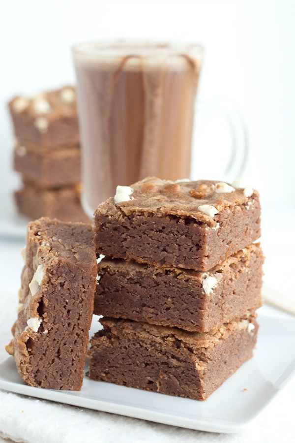 Hot Cocoa Brownies from Cookie Dough and Oven Mitt