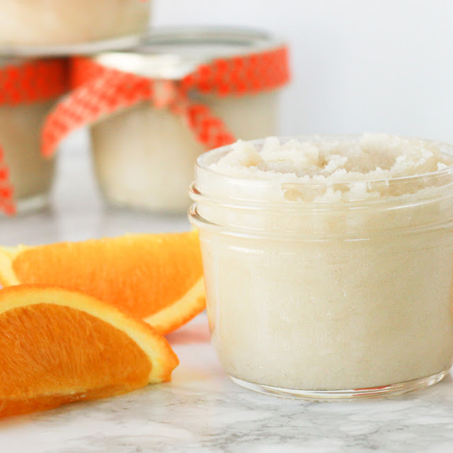 DIY Orange Vanilla Sugar Scrub!  A great gift for friends, teachers, neighbors, and of course for yourself!