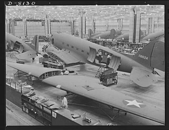Production of Douglas Aircraft C-47 Skytrain transports, 23 December 1941 worldwartwo.filminspector.com