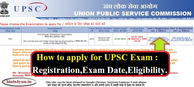 The UPSC Notification has been issued. Interested people can apply online by visiting UPSC website upsconline.nic.in. The Civil Services' Prelimits Exam will be conducted on 2 June 2019.