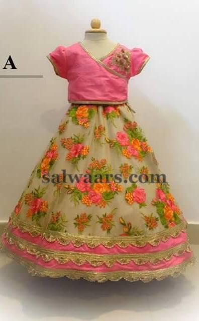 Beige Rose Floral Skirt Indian Dresses