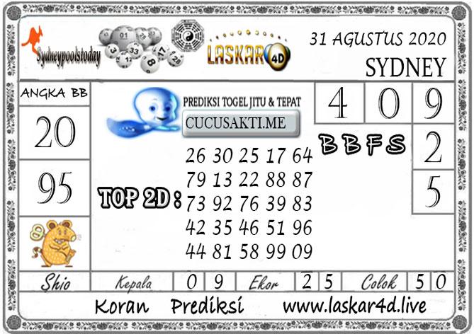 Prediksi Togel SYDNEY LASKAR4D 31 AGUSTUS 2020