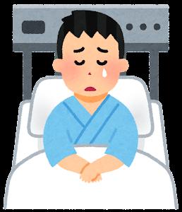 いろいろな表情の入院中の人のイラスト(男性・泣いた顔)
