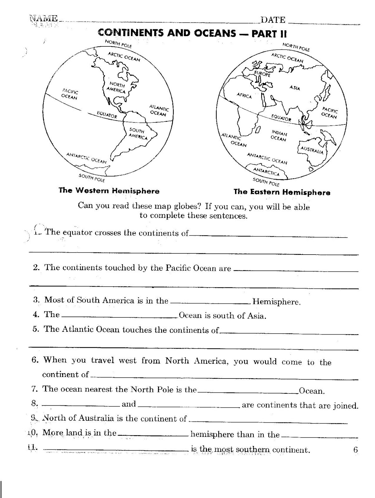 Printables Continents And Oceans Quiz Worksheet