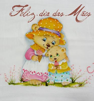 cartão para o dia das mães com pintura de ursa e filhinha