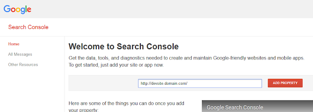 Adding a site to Google Search Console