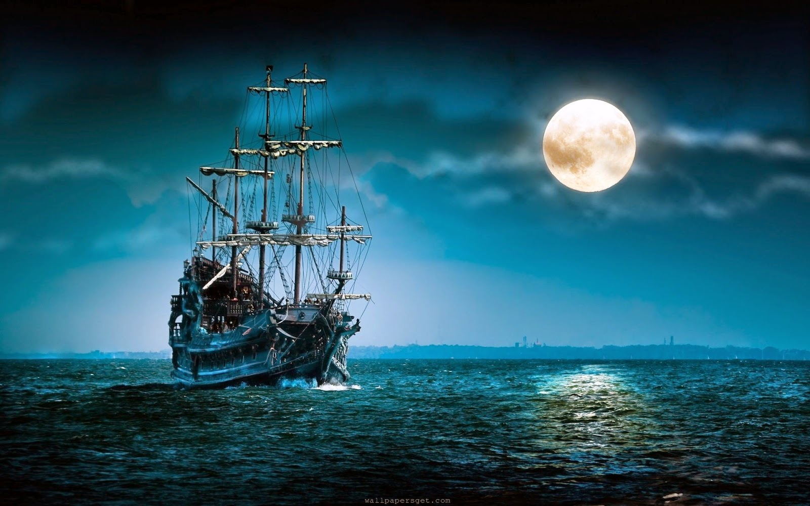 Moon & ship wallpaper