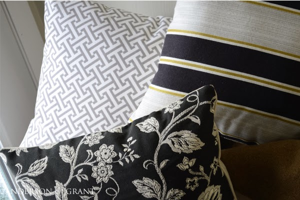 Three patterned pillows