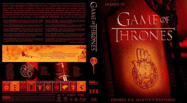 Capa Bluray Game Of Thrones Terceira Temporada Completa