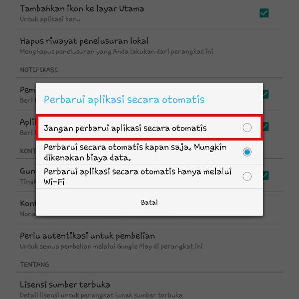 Bagaimana Cara Mematikan Auto Update Google Play Store