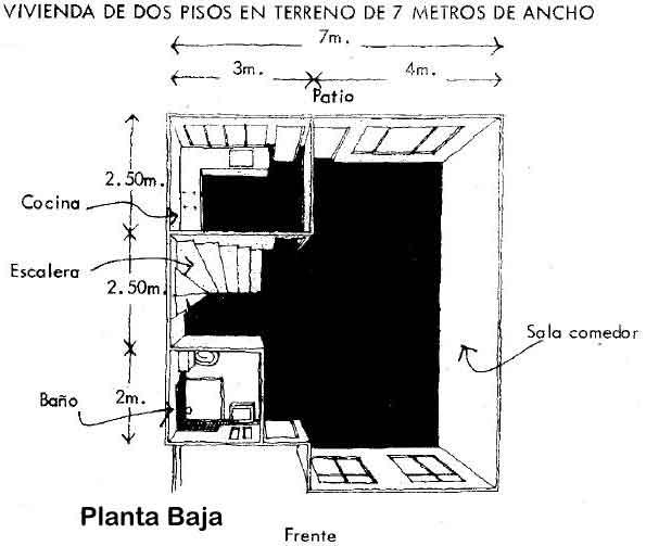 Idea 5-Vivienda dos pisos en terreno de 7 mts. de ancho-Planta Baja