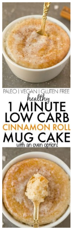 Healthy 1 Minute Low Carb Cinnamon Roll Mug Cake