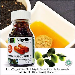 nigellive Nigela sativa, olive oil and blackseed oil obat kolesterol, hpertensi dan diabetes