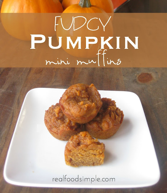 Fudgy pumpkin mini muffins - these are grain free and low in sugar. | realfoodsimple.com