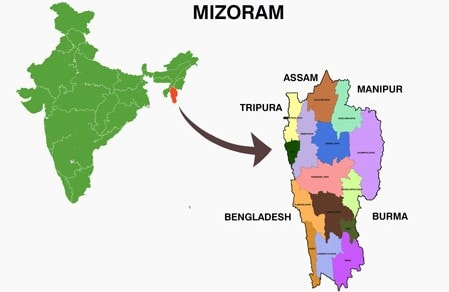 Mizoram Location in India