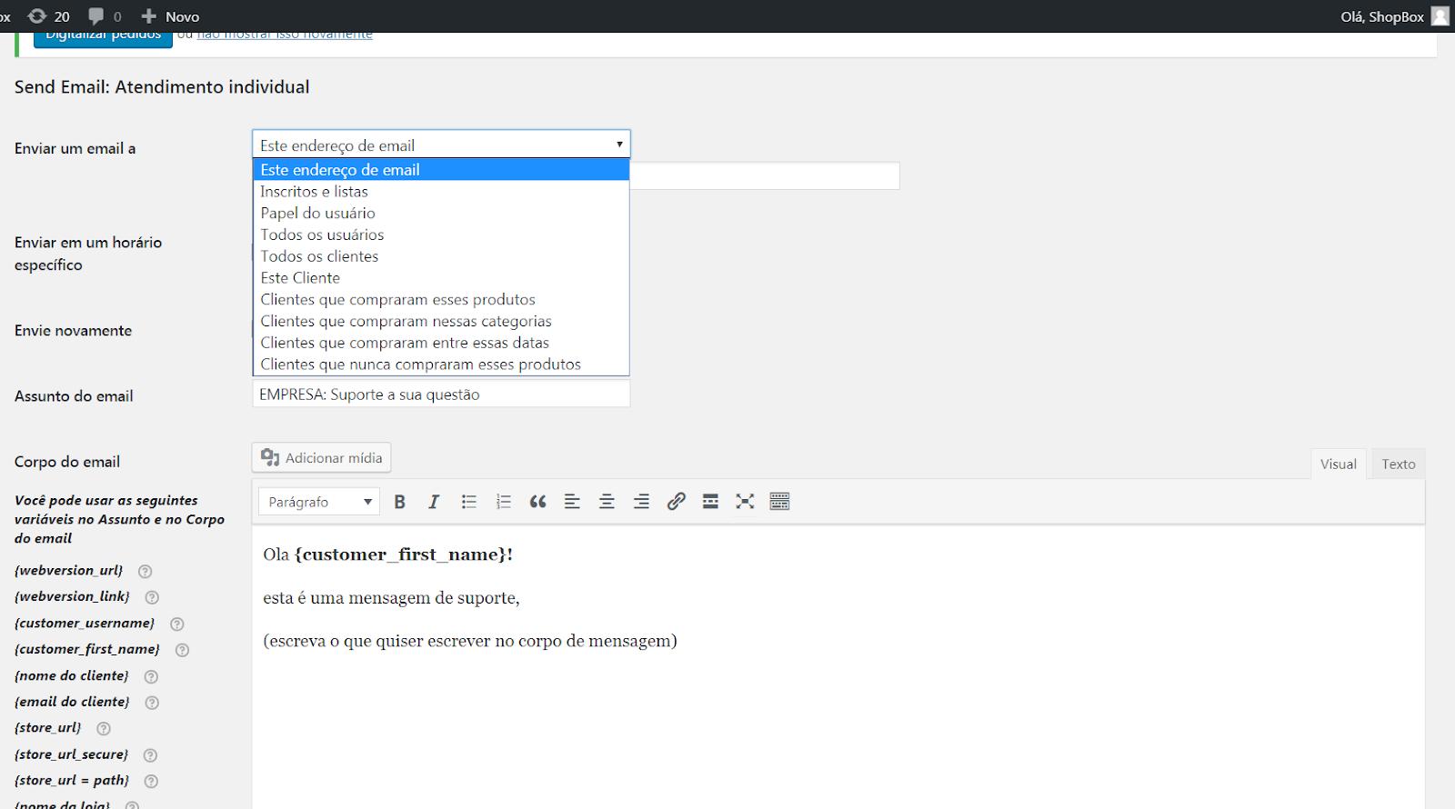 Enviar email individual para cliente Woocommerce