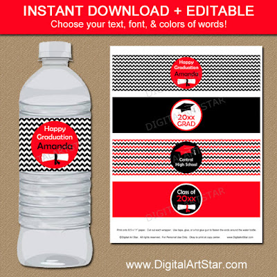 graduation water bottle label printable for the class of 2016
