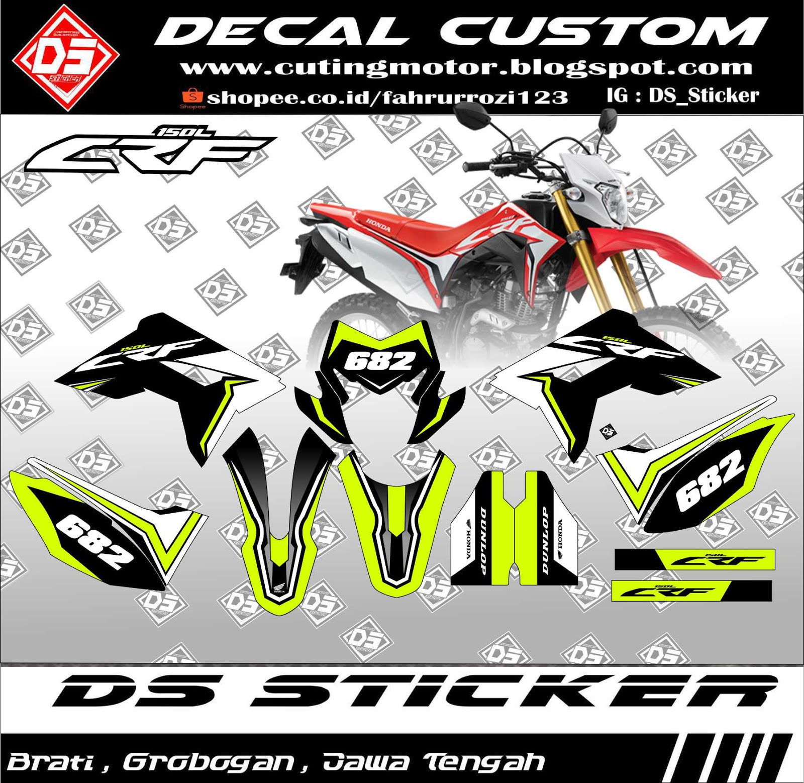 Decal sticker crf 150 l hijau stabilo