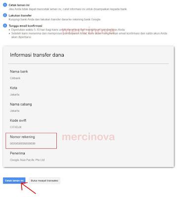 Halaman Informasi Nomor Rekening Google Adword