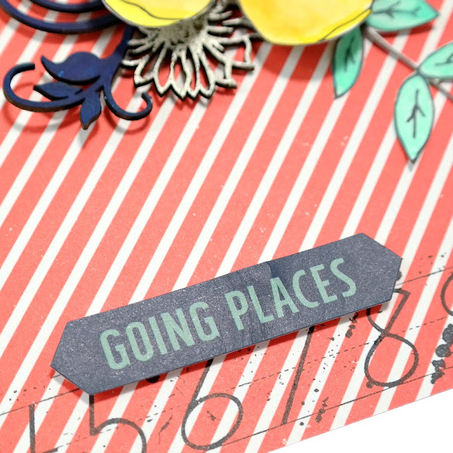 Going Places Die-Cut Title Spot with Stamped Number Border Background